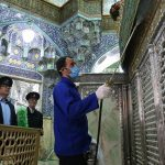 Iranian sanitary workers disinfect Qom''s Masumeh shrine to prevent the spread of the coronavirus COVID19